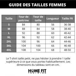 Guides des tailles t shirt sudation femme manches courtes s m l xl 2xl 3xl 4xl