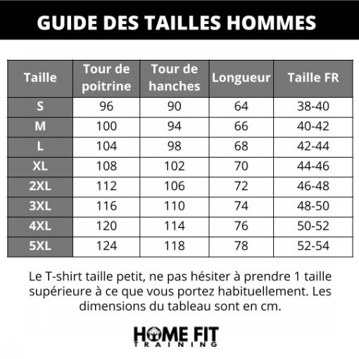 Guides des tailles t shirt sudation homme manches courtes s m l xl 2xl 3xl 4xl