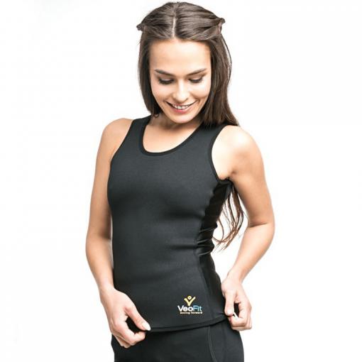 femme portant gilet de sudation femme effet sauna veofit