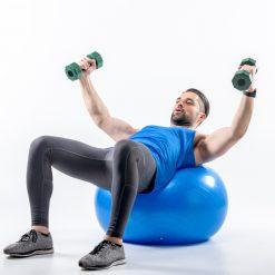 swiss ball ballon bleu tres grand-diametre 65 cm exercice musculation
