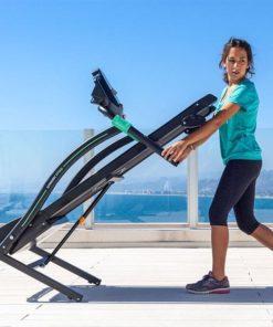 tapis de course à pied pliable inclinable 14 km/h roulettes pour déplacer