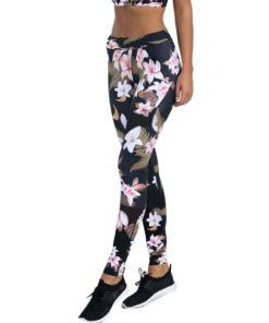 Legging noir à fleurs pour femme