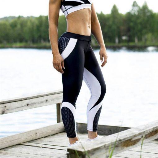 legging de sport impimé avec dessins en nids d'abeilles en outdoor