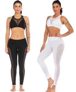 Ensemble de sport pour femme avec legging et brassière deux couleurs