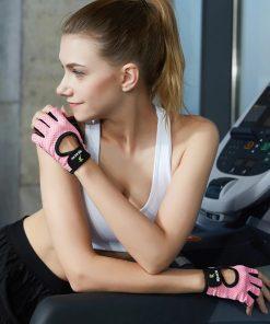 Gants d entrainement de musculation pour femme rose pose salle de sport