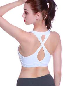 Brassière de sport avec bretelles croisées sur le dos blanc