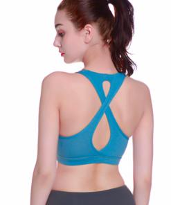 Brassière de sport avec bretelles croisées sur le dos bleu