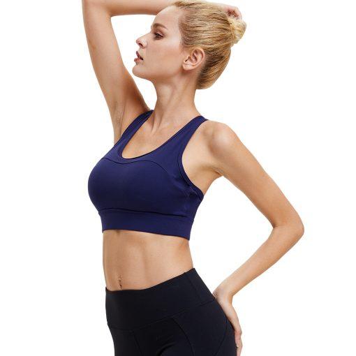 Brassière de sport push up pour femme couleur bleue