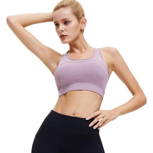 Brassière de sport push up pour femme couleur mauve