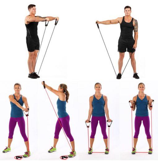 Élastique fitness/musculation avec poignées démonstration exemples exercices