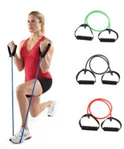 Élastique fitness/musculation avec poignées démonstration femme