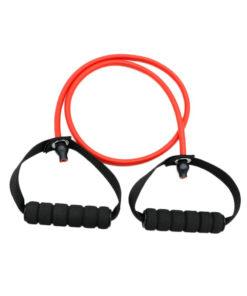 Élastique fitness/musculation avec poignées démonstration couleur rouge