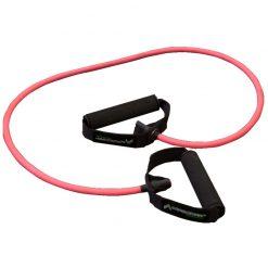 elastique fitness musculation avec poignees resistance faible couleur rose