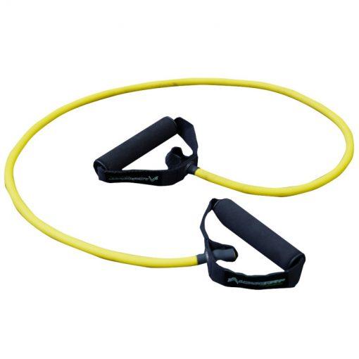 elastique fitness musculation avec poignees resistance moyenne couleur jaune