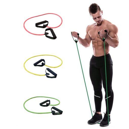 elastique fitness musculation avec poignees demonstration homme