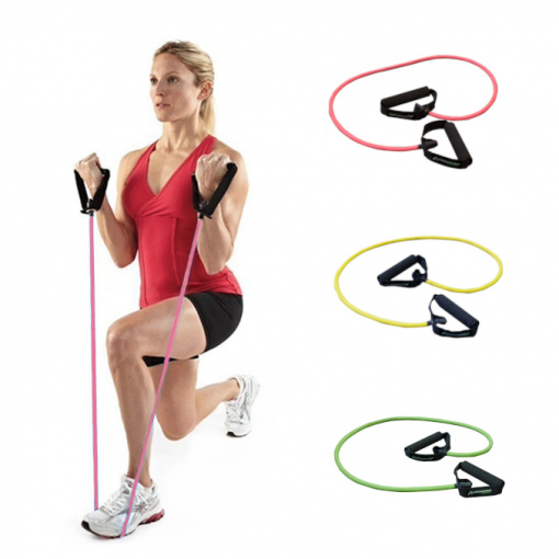 elastique fitness/musculation avec poignees demonstration femme