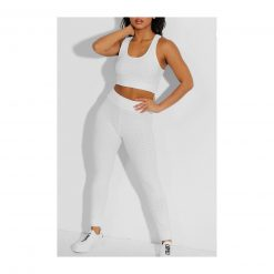 Ensemble de sport pour femme avc legging et brassiere top push up blanc