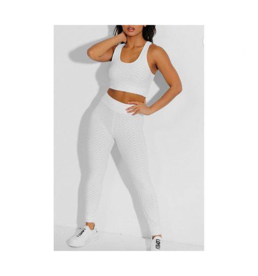 Ensemble de sport pour femme avc legging et brassiere top push up blanc
