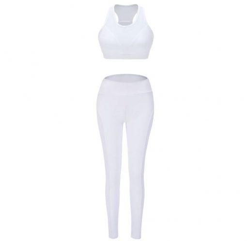 Ensemble de sport pour femme avec legging et brassière en couleur blanche