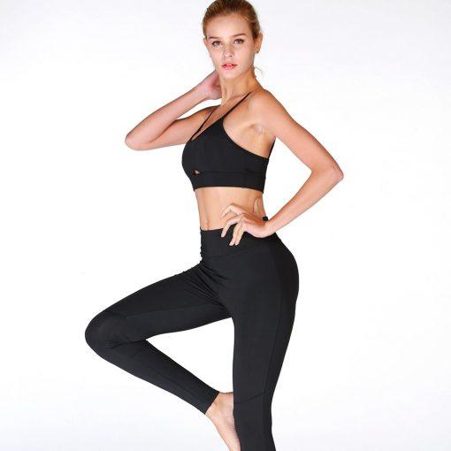 Ensemble de sport pour femme aec legging et brassière ultra doux noir