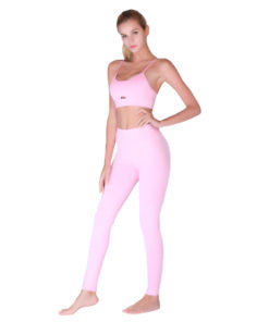 Ensemble de sport pour femme aec legging et brassière ultra doux rose