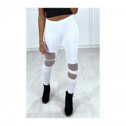 Legging de sport blanc femme resilles mailles