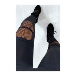 Legging de sport noir femme resilles mailles dessus