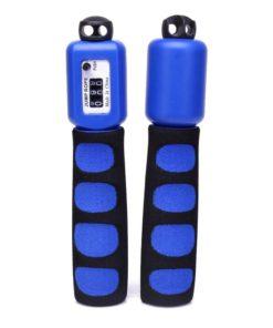 Corde à sauter fitness avec compteur physique de sauts bleue