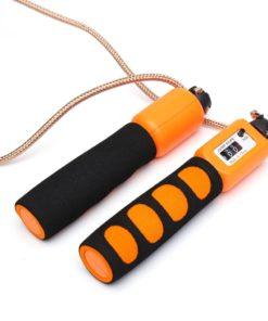 Corde à sauter fitness avec compteur physique de sauts orange