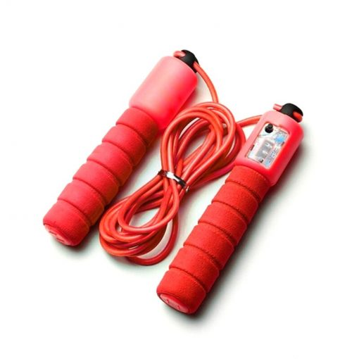 corde a sauter avec compteur mecanique fitness rouge
