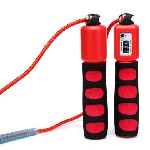 Corde à sauter fitness avec compteur physique de sauts rouge