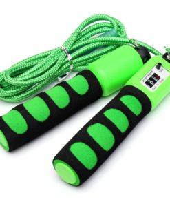 Corde à sauter fitness avec compteur physique de sauts verte