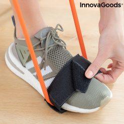 accessoire fitness elastiques resistance position squat fixation pieds velcro