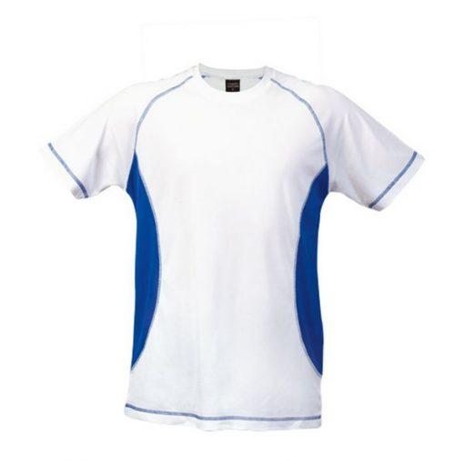 Tee shirt de sport pour homme anti transpirant blanc et bleu