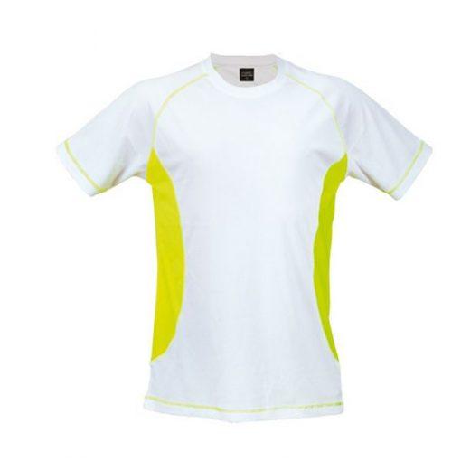 Tee shirt de sport pour homme anti transpirant blanc et jaune