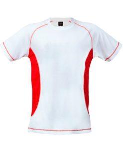 Tee shirt de sport pour homme anti transpirant blanc et rouge