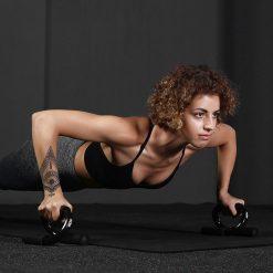 femme entrainement poignee pour pompes noir
