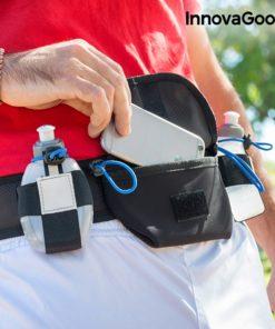 Ceinture porte bidon running avec poche centrale pour ranger smartphone