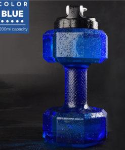 gourde en forme d'haltere en matière transparente bleue 2200ml