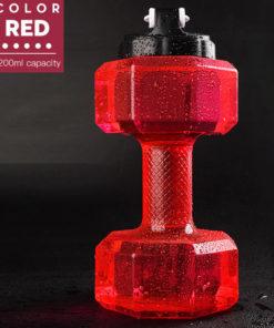 gourde en forme d'haltere en matière transparente rouge 2200ml
