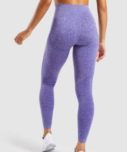 Legging sport fitness instagram confort taille haute femme Woolfit bleu dos