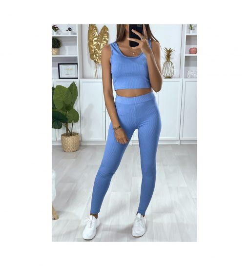 Legging sport fitness instagram confort taille haute femme Woolfit bleu face