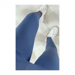 Legging sport fitness instagram confort taille haute femme Woolfit bleu haut