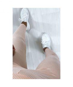 Legging sport fitness instagram confort taille haute femme Woolfit rose haut