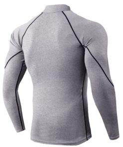 T-shirt a manches longues de musculation gris dos