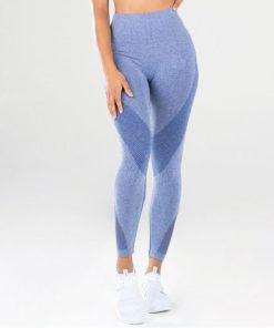 legging sport taille haute pas cher femme bleu de face