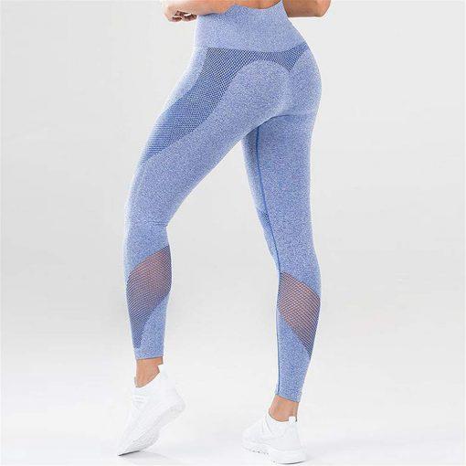 legging sport taille haute pas cher femme bleu de profil