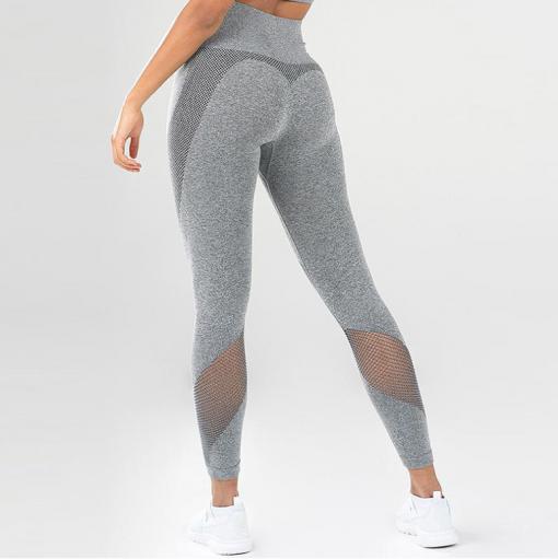 legging sport taille haute pas cher femme gris de dos