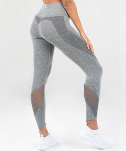 legging sport taille haute pas cher femme gris de profil