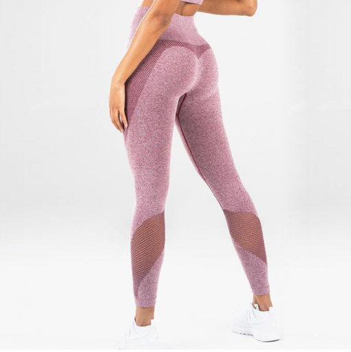 legging sport taille haute pas cher femme rose de profil